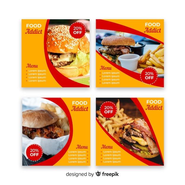 Burgers instagram beitragssammlung mit foto Kostenlosen Vektoren