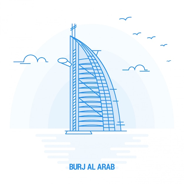 Burj al arab blaues wahrzeichen Premium Vektoren