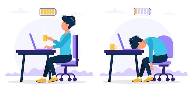 Burnoutkonzeptillustration mit dem glücklichen und erschöpften männlichen büroangestellten, der am tisch mit voller und schwacher batterie sitzt. Premium Vektoren