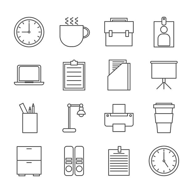 Buro Icon Set Download Der Premium Vektor