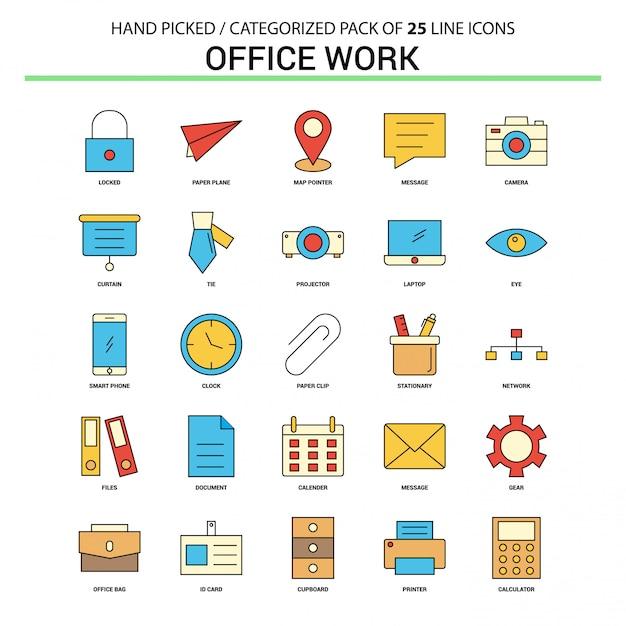 Büroarbeit flache Linie Icon Set Kostenlose Vektoren