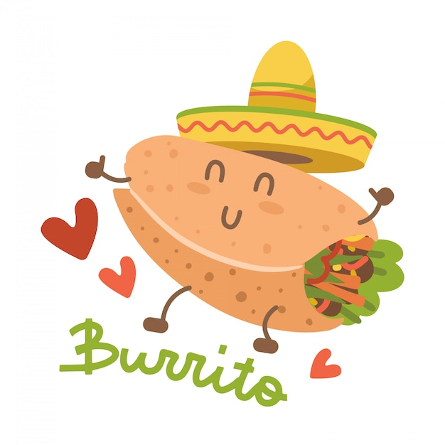 Burrito im mexikanischen hut sombrero. cartoon essen charakter. isoliertes bild auf weißem hintergrund. comic trendige art kawaii person. flache emoticon-illustration mit beschriftung Premium Vektoren