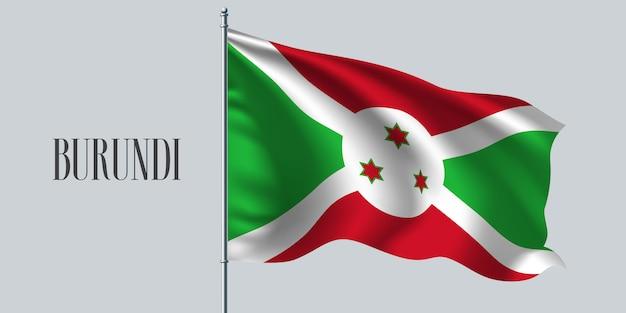 Burundi winkende flagge auf fahnenmastillustration Premium Vektoren