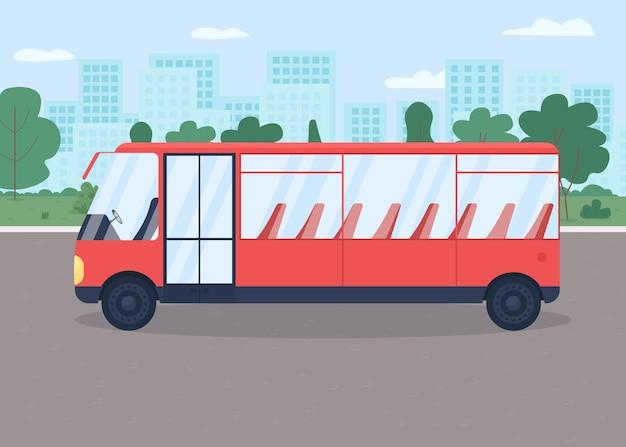 Bus auf straßenfarbillustration. Premium Vektoren