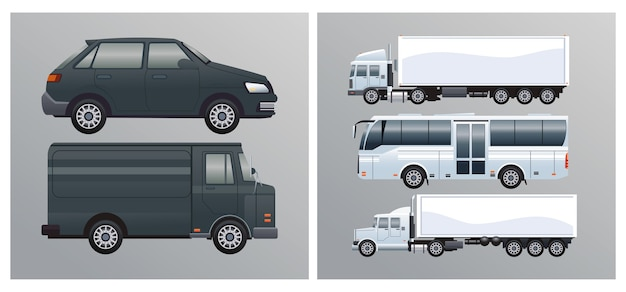 Bus und lkw mit fahrzeugen, die modellstil brandmarken Premium Vektoren