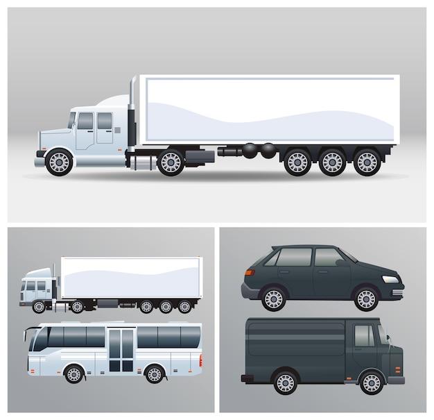 Bus und lkw mit fahrzeugmodellstil Premium Vektoren