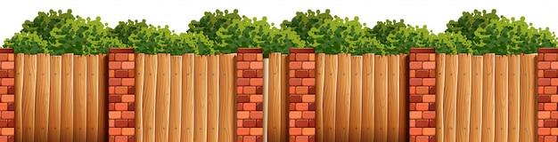 Bush und zaun forground szene Kostenlosen Vektoren