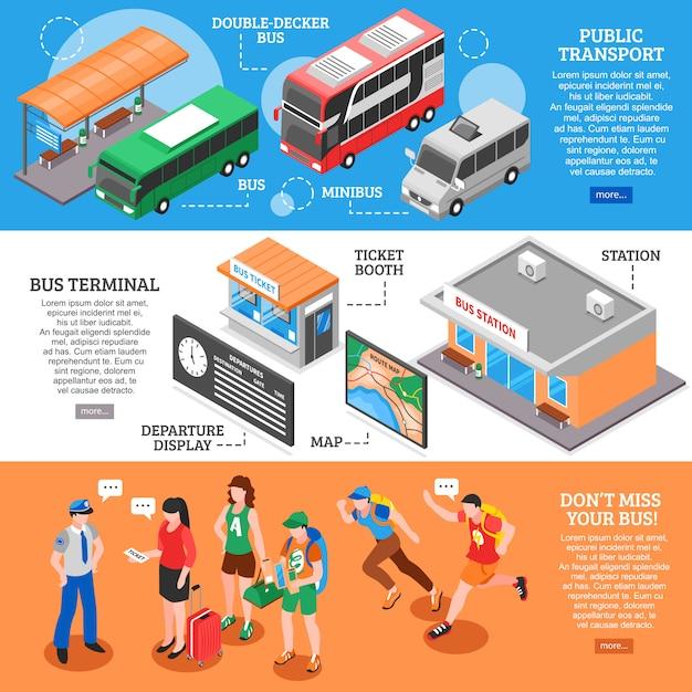 Bushaltestelle isometrische banner eingestellt Kostenlosen Vektoren