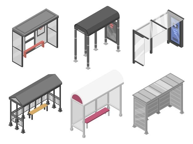 Bushaltestelle symbole festgelegt. isometrischer satz bushaltestelle-vektorikonen für das webdesign lokalisiert auf weißem hintergrund Premium Vektoren