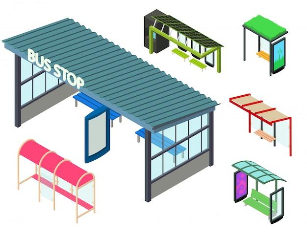 Bushaltestelleikonen eingestellt, isometrische art Premium Vektoren