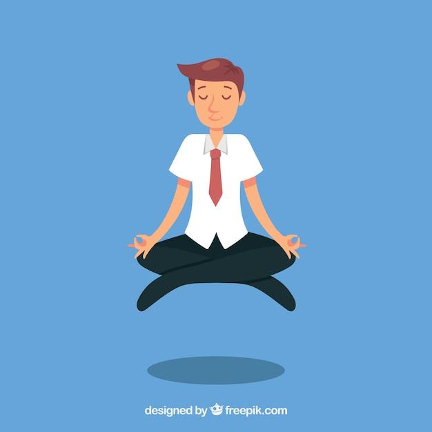 Busines mann meditiert Kostenlosen Vektoren