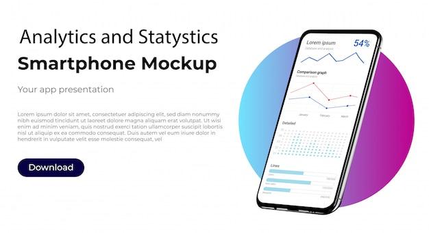 Business-admin-dashboard für analytics und statistik zur marktanalyse. bildschirm der benutzeroberfläche der benutzeroberfläche für das smartphone Premium Vektoren