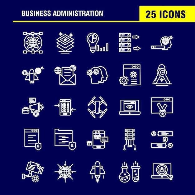 Business administration line icons set Kostenlosen Vektoren