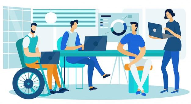Business analytics-kreativteam, das im büro arbeitet Premium Vektoren