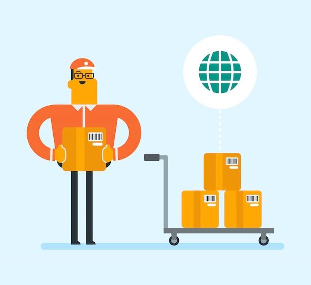 Business arbeiter des internationalen lieferservice. Premium Vektoren