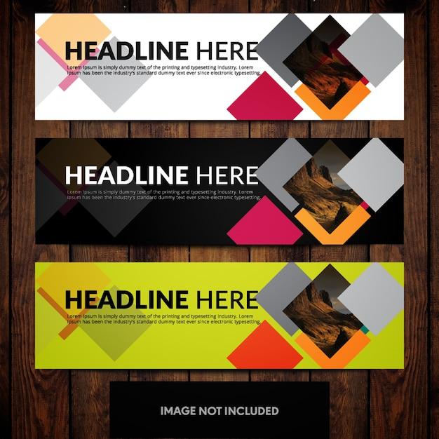 Business Banner Design-Vorlagen mit mehrfarbigen Hintergründen und ...