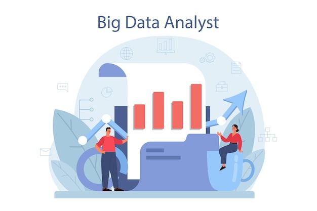 Business big data analyse- und analysekonzept. diagramm und grafik, diagrammforschung. bericht zur optimierung erstellen. vektor flache illustration Premium Vektoren