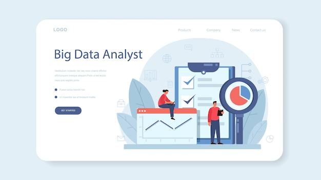 Business-big-data-analyse-webbanner oder zielseite. diagramm und grafik, diagrammforschung. Premium Vektoren