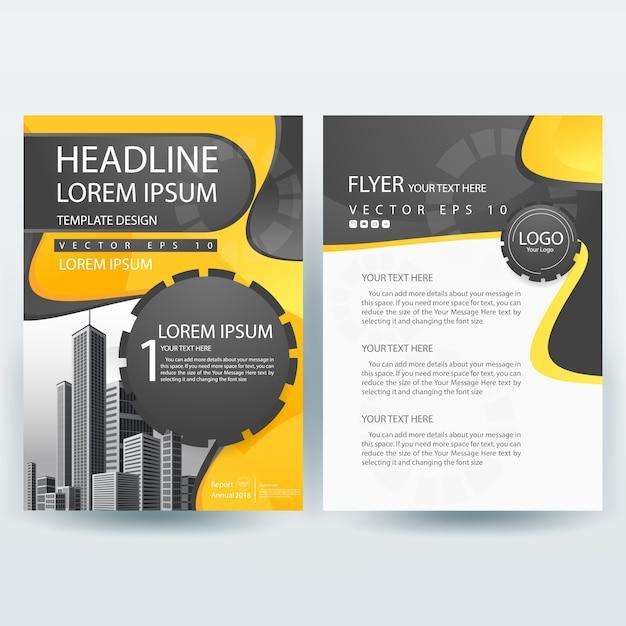 Business Broschüre Vorlage mit gelb und grau Kostenlose Vektoren