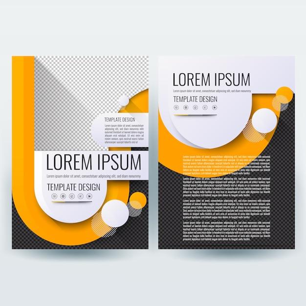 Business Broschüre Vorlage mit Orange U Formen auf schwarz Farbe ...