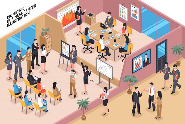 Business center isometrische zusammensetzung Kostenlosen Vektoren