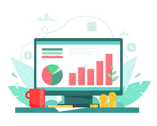 Business chart wachstum, erfolgreiches projekt. finanzielles wachstum. profitieren. vektorillustration in der karikaturartwohnung. Premium Vektoren