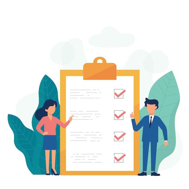 Business-checkliste bord Premium Vektoren