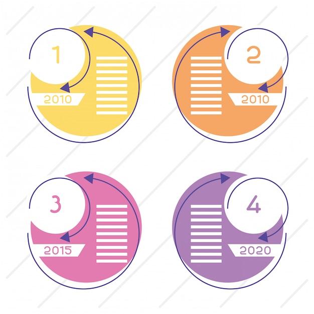 Business circular time line infografiken mit zahlen Premium Vektoren
