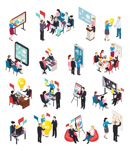 Business coaching isometrische symbole Kostenlosen Vektoren