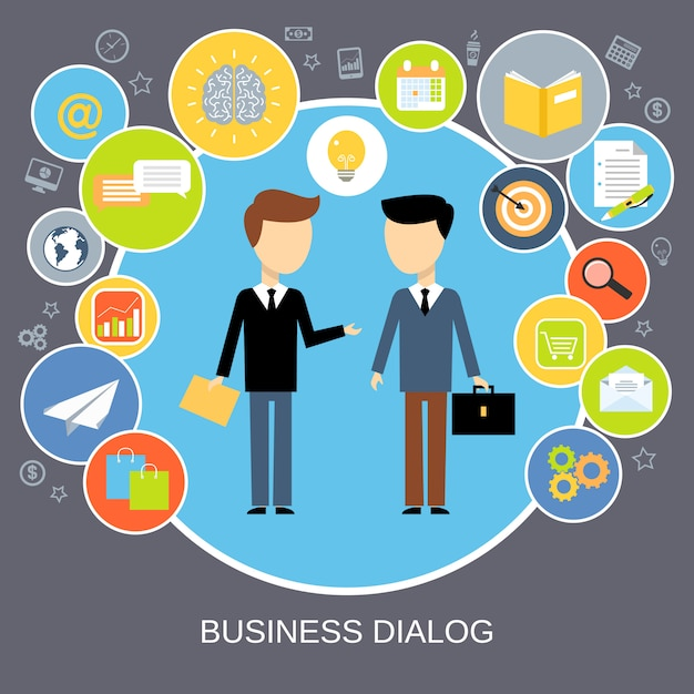 Business-dialog-konzept Kostenlosen Vektoren
