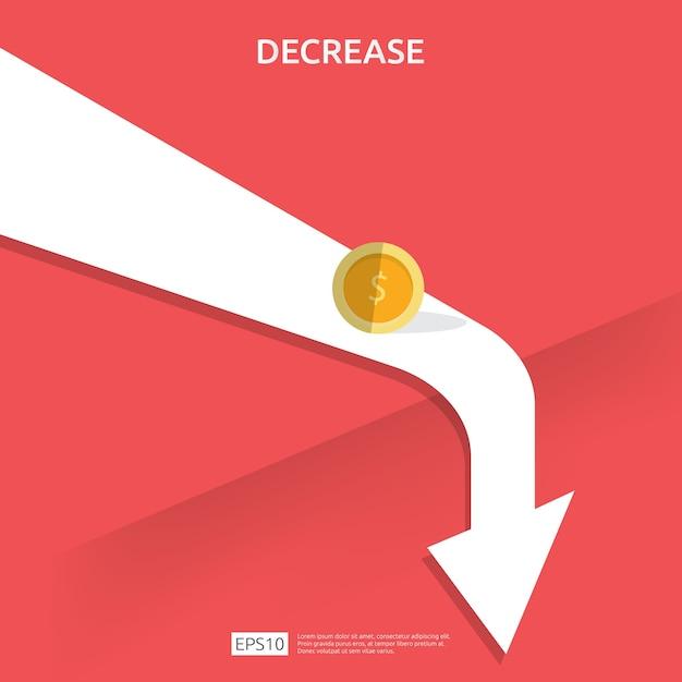 Business finance krisenkonzept. geld fallen symbol. Premium Vektoren