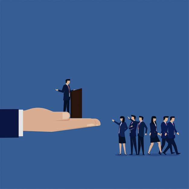 Business flat manager sprechen mit mitarbeitern und niemand kümmert sich um metapher des schlechten führers. Premium Vektoren