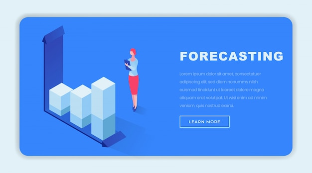 Business forecasting isometrische landingpage-vorlage Premium Vektoren