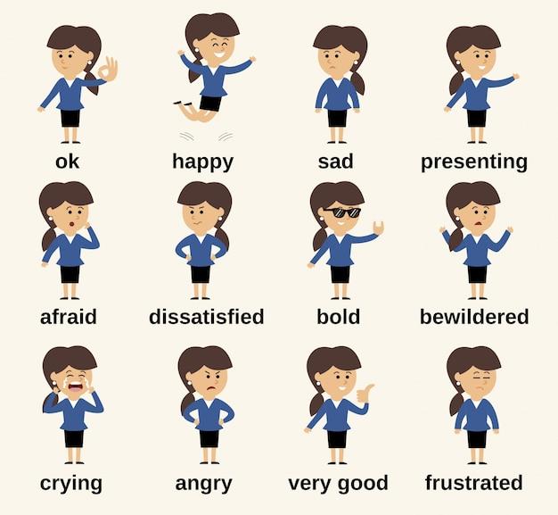 Business-frau cartoon-figur glücklich und traurig emotionen gesetzt isoliert vektor-illustration Kostenlosen Vektoren