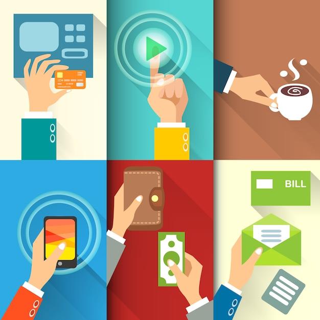 Business hands in action, bezahlen, kaufen, geld überweisen Kostenlosen Vektoren