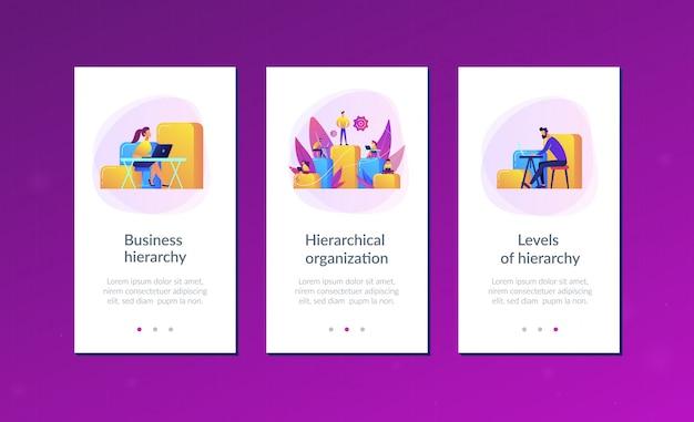 Business-hierarchie-app-interface-vorlage Premium Vektoren