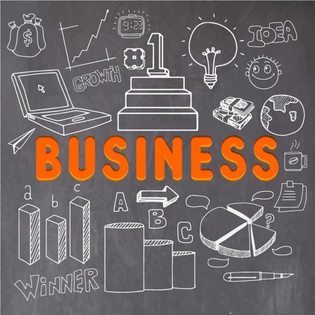 Business-hintergrund mit handgezeichneten weißen objekten Premium Vektoren