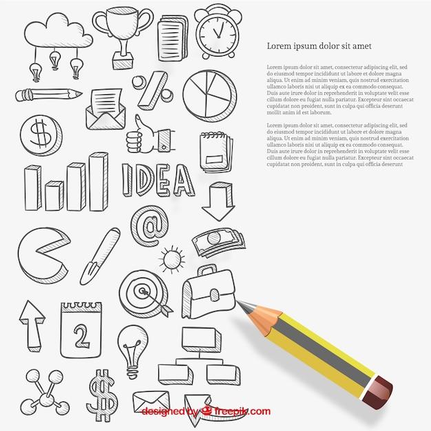 Business icons in skizzenhaften stil Kostenlosen Vektoren