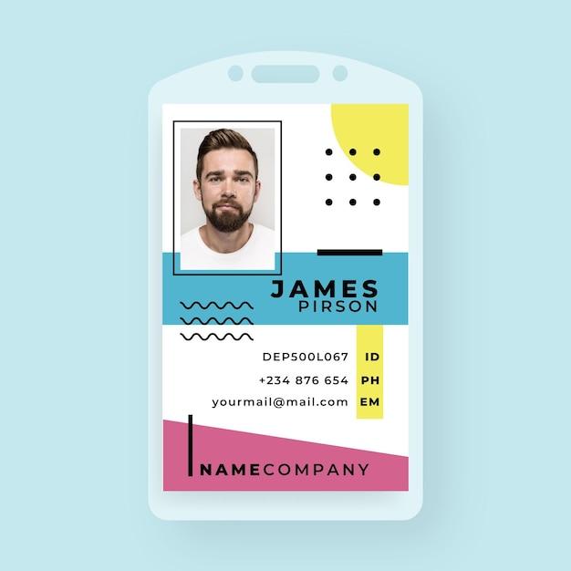 Business id card vorlage im memphis-stil Kostenlosen Vektoren
