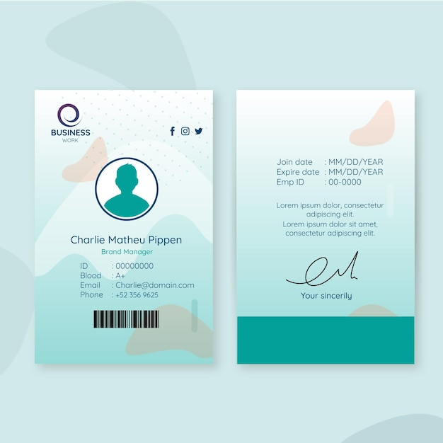 Business id card vorlage mit avatar Kostenlosen Vektoren