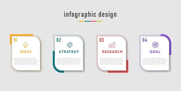 Business info-grafikvorlage. zeitleiste mit 4 schritten, optionen. Premium Vektoren