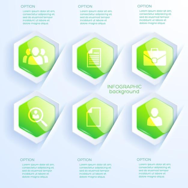 Business infografik abstraktes konzept mit textsymbolen und sechs glänzenden grünen sechsecken Kostenlosen Vektoren
