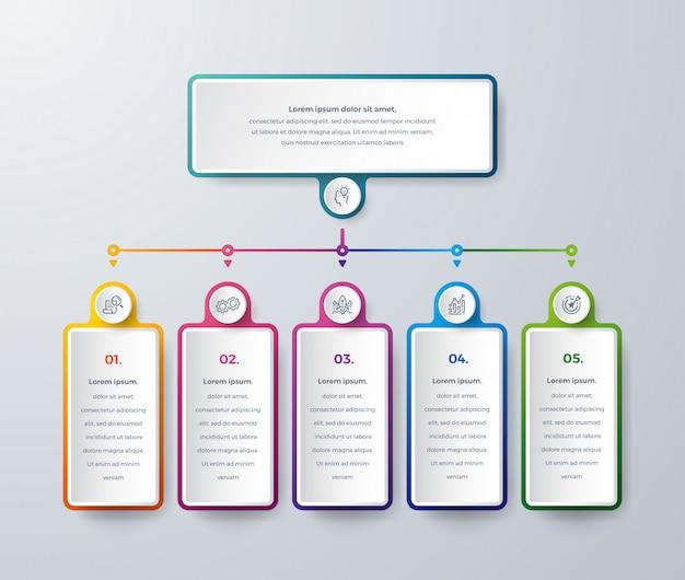 Business-infografik-design mit prozess entscheidungen oder schritten. Premium Vektoren