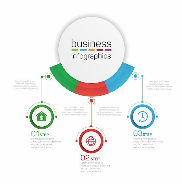 Business infografik design vorlage mit 3 optionen, schritten oder prozessen Premium Vektoren