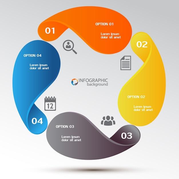 Business-infografik-designkonzept mit bunten elementen diagramm vier optionen und symbole Kostenlosen Vektoren