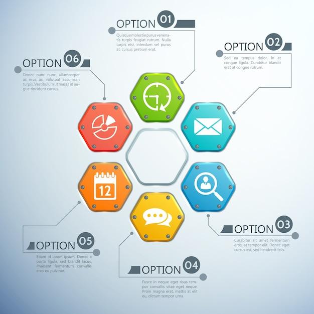 Business-infografik-designkonzept mit sechs optionen und weißen symbolen der bunten sechsecke Kostenlosen Vektoren
