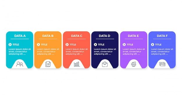 Business-infografik mit 6 optionen Premium Vektoren