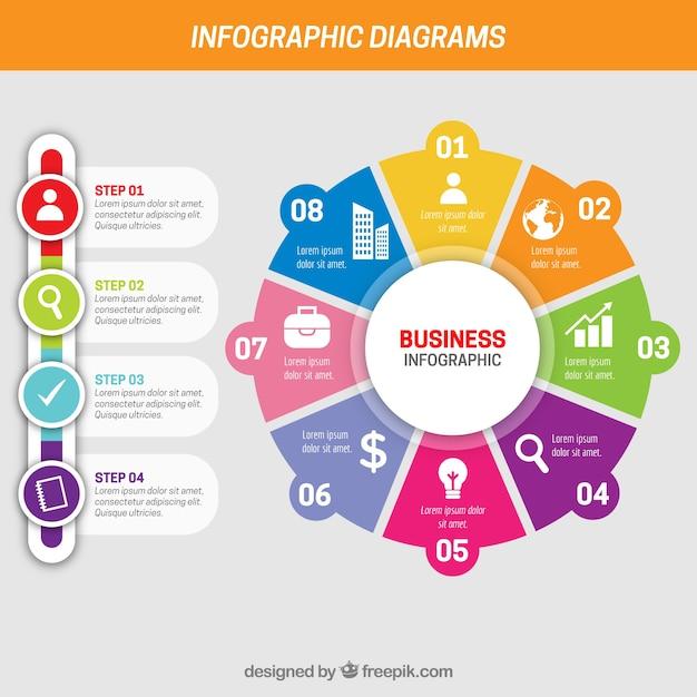 Business-infografik mit verschiedenen schritten Kostenlosen Vektoren
