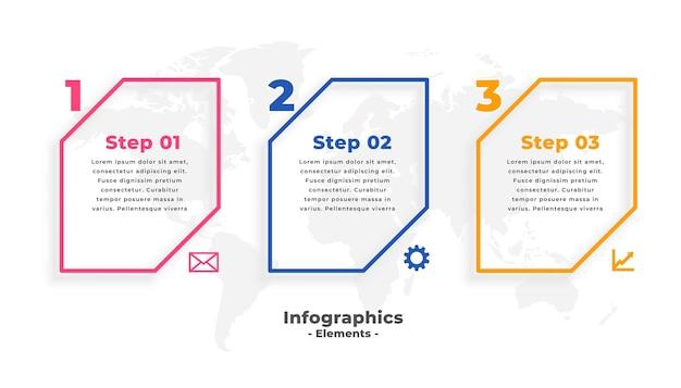 Business-infografik-vorlage mit drei schritten Kostenlosen Vektoren
