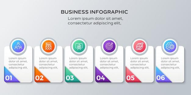 Business infografiken sechs schritte vorlage Premium Vektoren